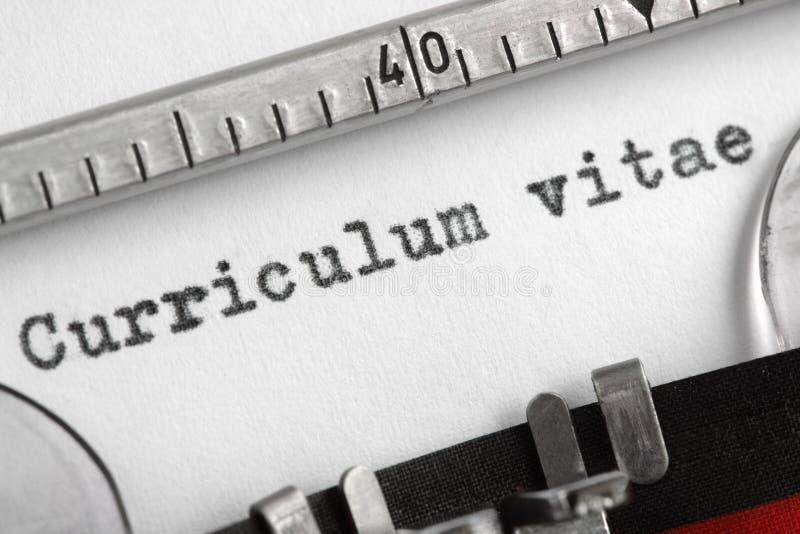 Currículum Vitae Escrito En La Máquina De Escribir Imagen de archivo ...