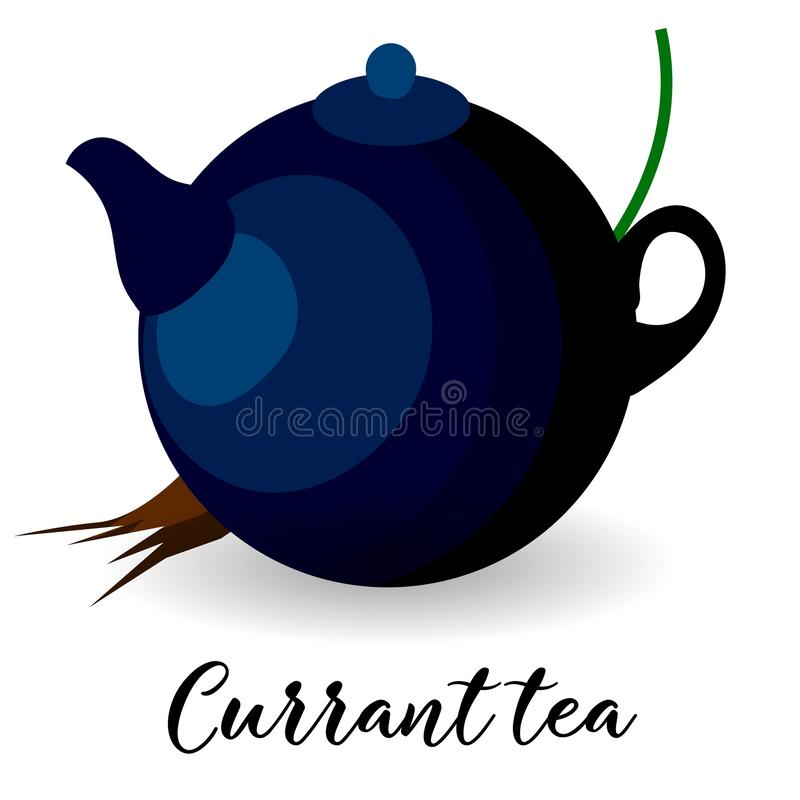 Currant tea Kettle for herbal and berry drinks Winterhete dranken stock illustratie