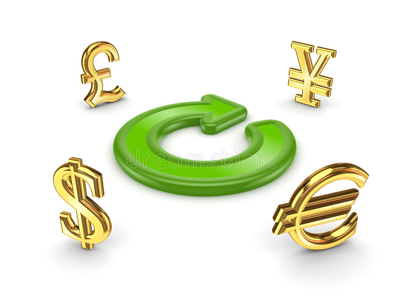 Currencies around green round arrow. stock illustration