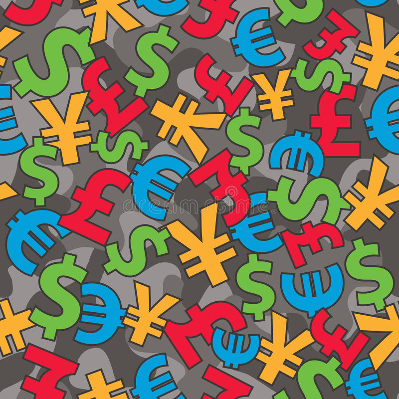 Currencies Camo. International currencies seamless camo background. EPS8 vector illustration, CMYK global colors vector illustration