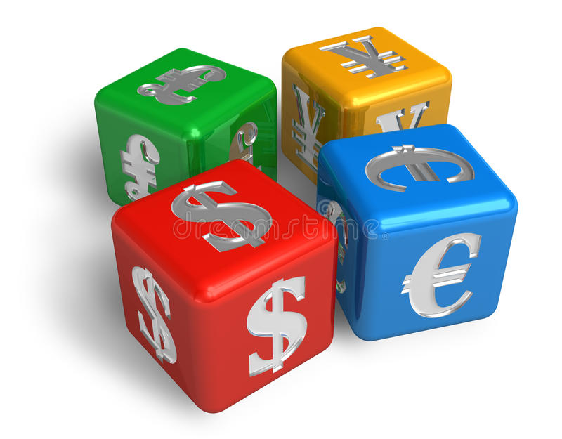 Currencies concept. Four color cubes with currencies symbols isolated over white background stock illustration