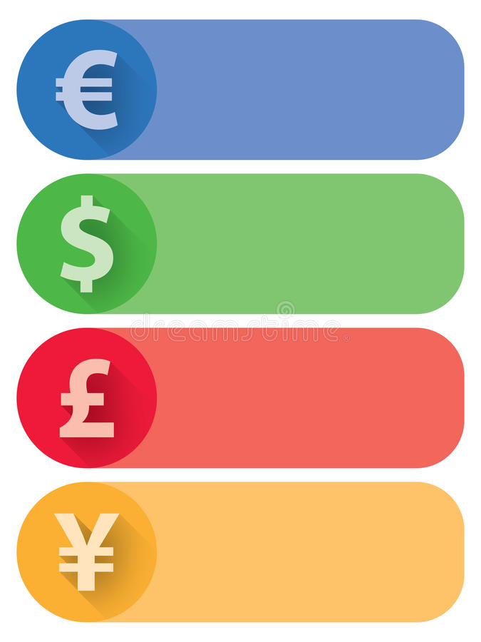 Currencies Flat Banners and Buttons. 4 Currencies flat banners. Euro, Dollar, Pound and Yen included, in 4 different colors. AI 10 vector illustration, CMYK royalty free illustration