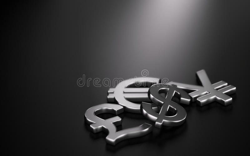 Currencies, Forex Trading. 3D illustration of the four main currencies over black background with copy space on the top and left sides. Concept of forex trading stock illustration