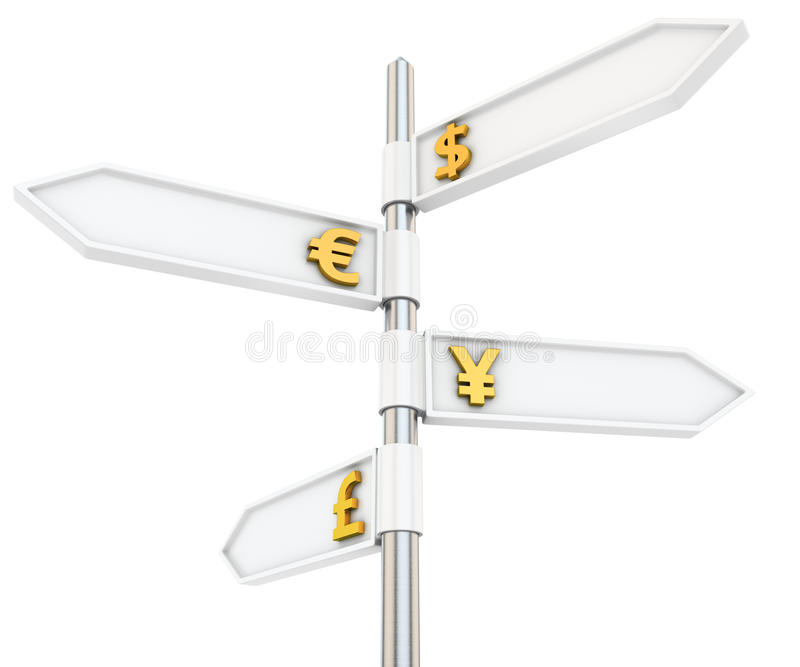 Currencies guide sign. Four-way road pointers of world's currencies stock illustration