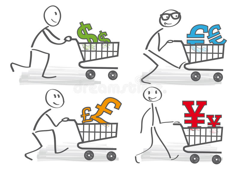 Currencies - illustration. Stick figure pushing shopping carts with various currencies vector illustration
