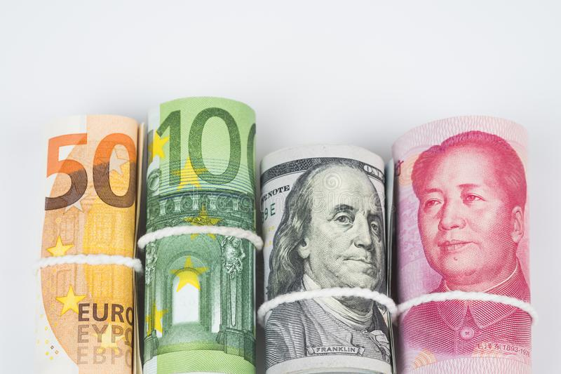 Currencies and money exchange trading concepts. The rolls of var royalty free stock photo