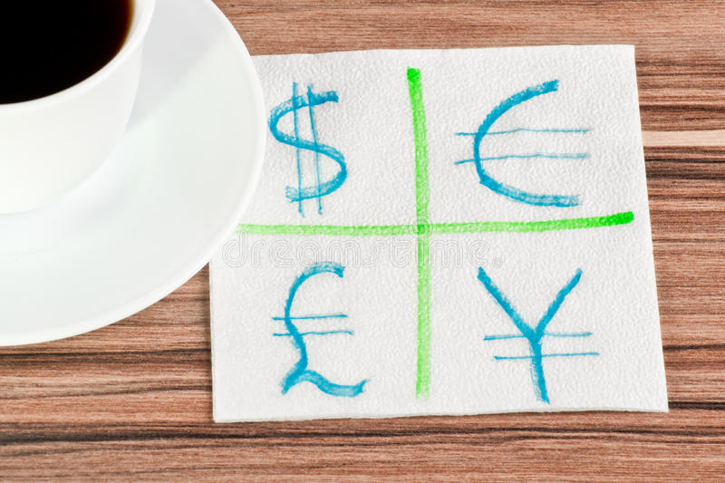 Currencies On A Napkin Stock Photo