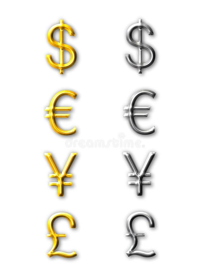 Currencies Symbol. Of USD, EURO, YEN, GBP stock illustration