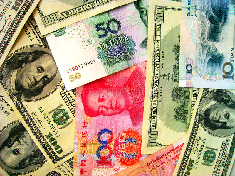 Currencies: US Dollar & China RMB stock photos