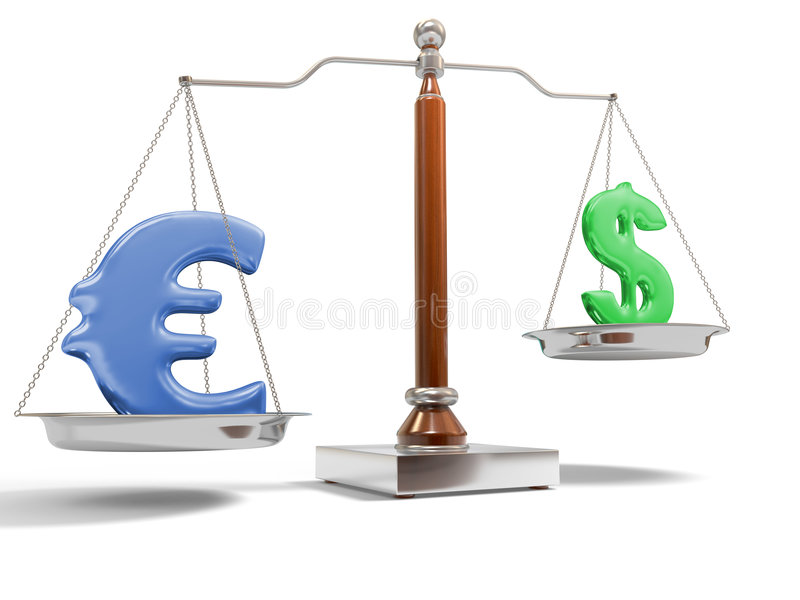 Currency on balance scale