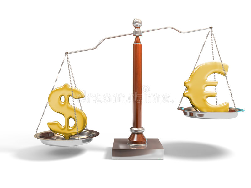 Currency On Balance Scale Stock Image