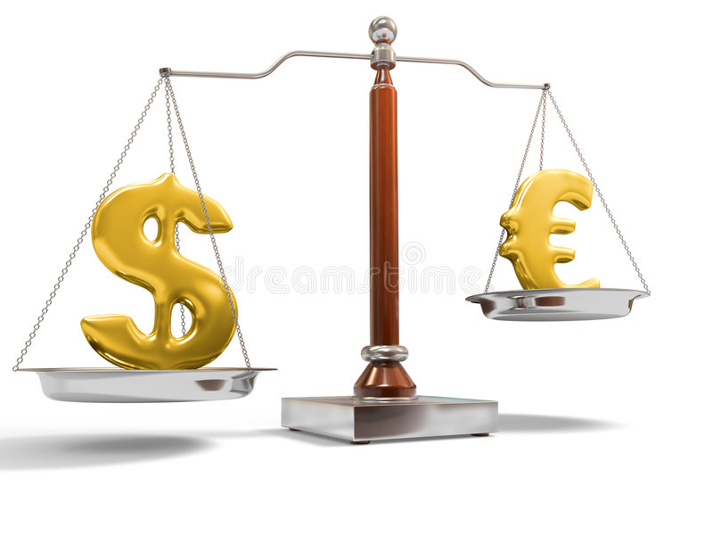 Currency On Balance Scale Royalty Free Stock Images