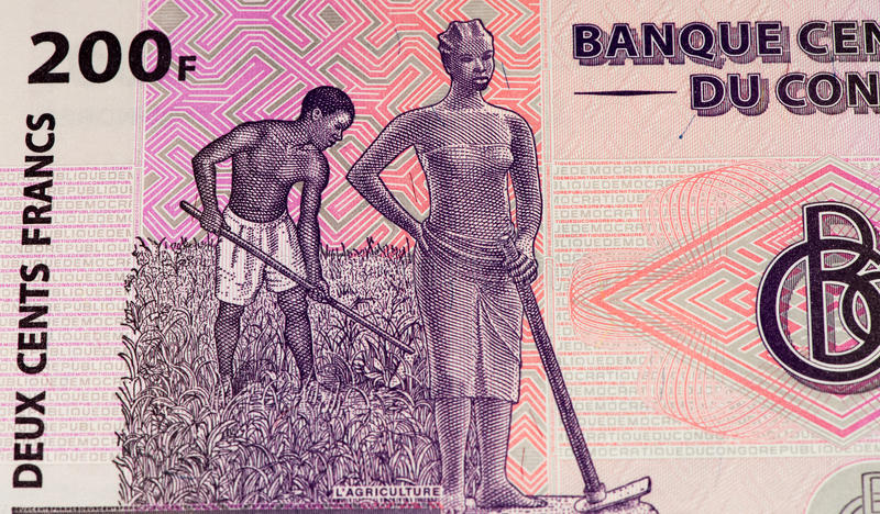 Currency banknote of Africa. 200 Congolese francs bank note of Congo. Congoles franc is the national currency of Congo royalty free stock photos