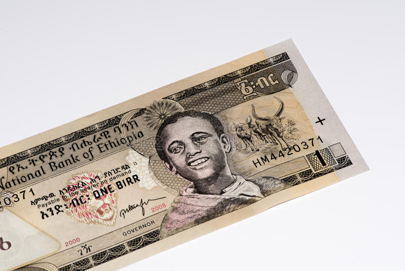 Currency banknote of Africa. 1 Ethiopian birr bank note. Birr is the national currency of Ethiopia royalty free stock photography