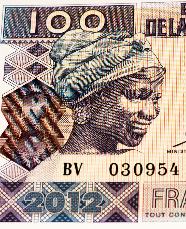Currency banknote of Africa. 100 West African francs bank note of Guine Bissau. Frans is the national currency of Guine Bissau stock photo