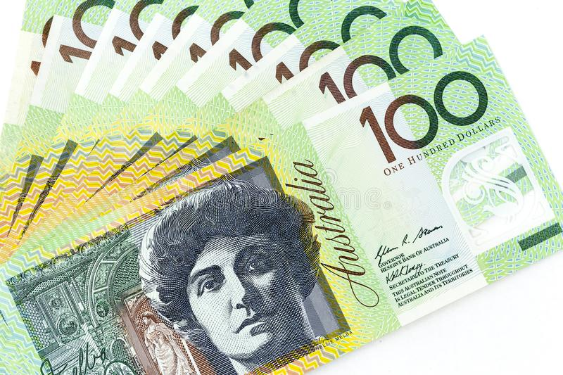 Currency banknotes spread across frame australian dollar. Notes stock image