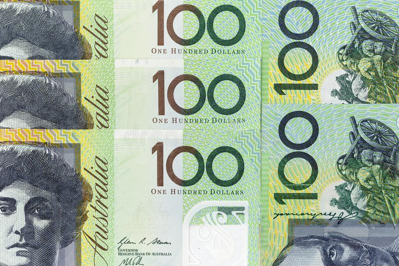 Currency banknotes spread across frame australian dollar in various denomination. Notes stock photography