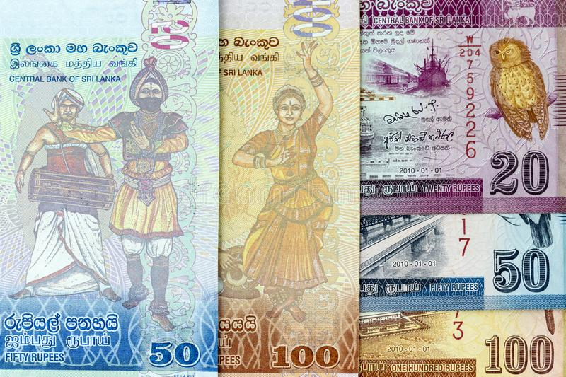 Currency banknotes spread across frame sri lankan rupee in various denomination stock image