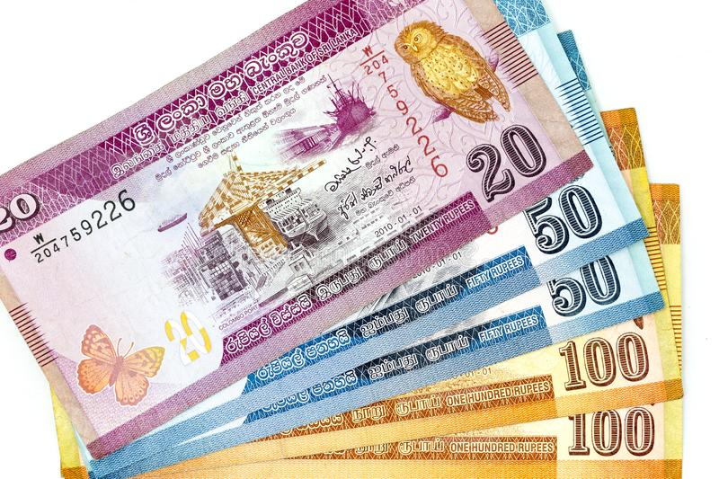 Currency banknotes spread across frame sri lankan rupee in various denomination stock photography