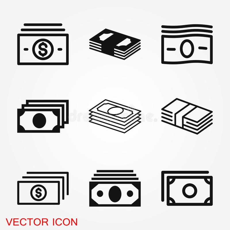 Currency Banknotes vector icon. Illustration style is a flat iconic royalty free stock photo