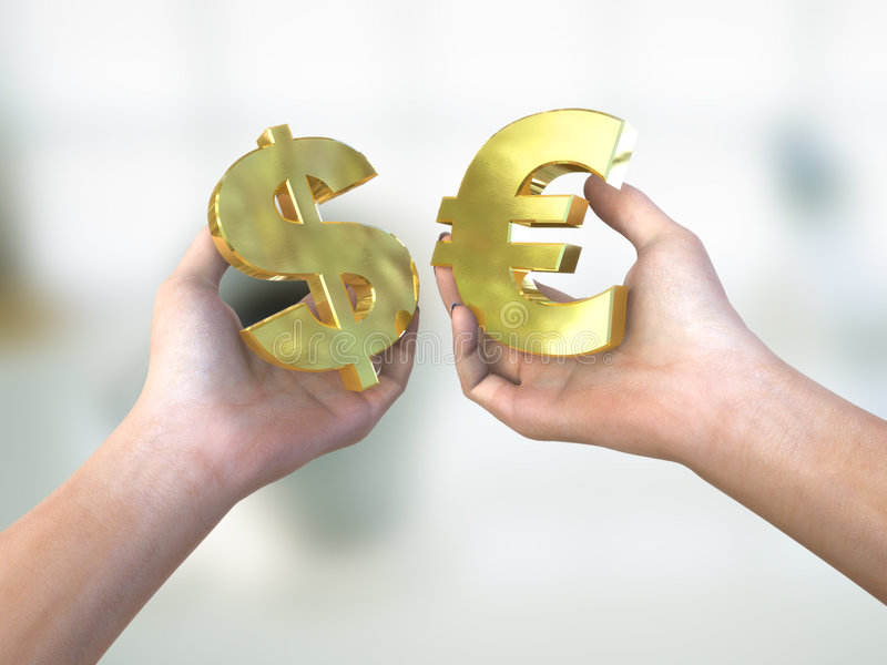Currency choice. Illustration of currency choice dilemma royalty free stock images