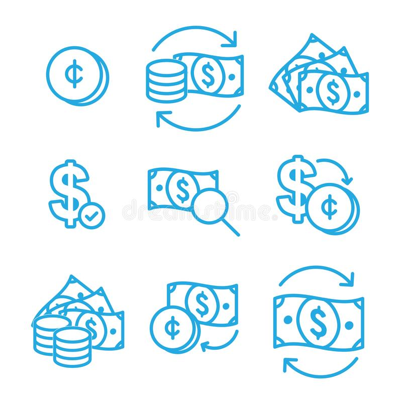 Currency Circulation / money exchange rate icon with dollar bill royalty free illustration
