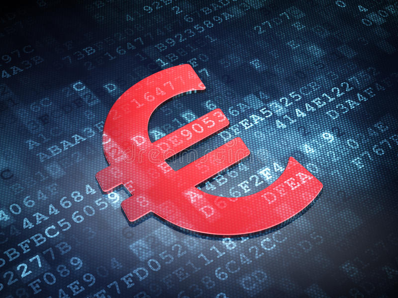Currency concept: Red Euro on digital background