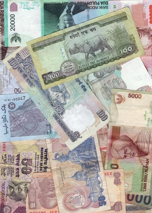 Money background. The currency of different Asian countries. Background stock photography