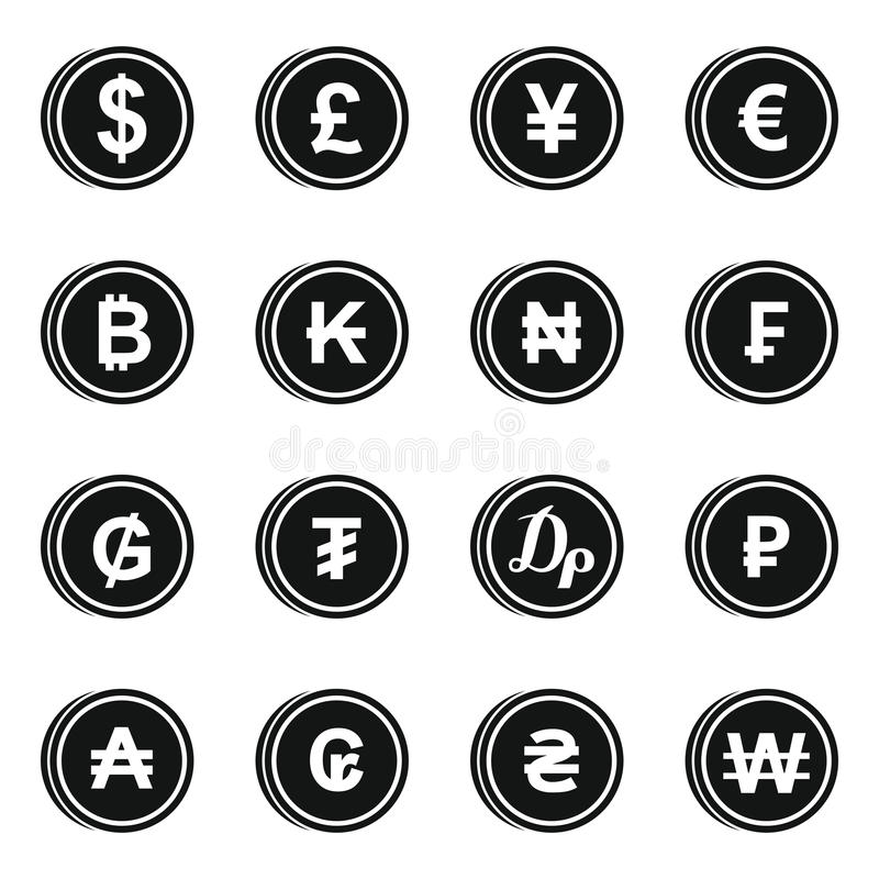 Currency From Different Countries Icons Set Stock Vector