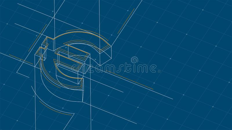Currency EUR European Euro isometric symbol dot and dash line frame structure pattern wireframe, Digital money cryptocurrency. Concept illustration isolated on royalty free illustration