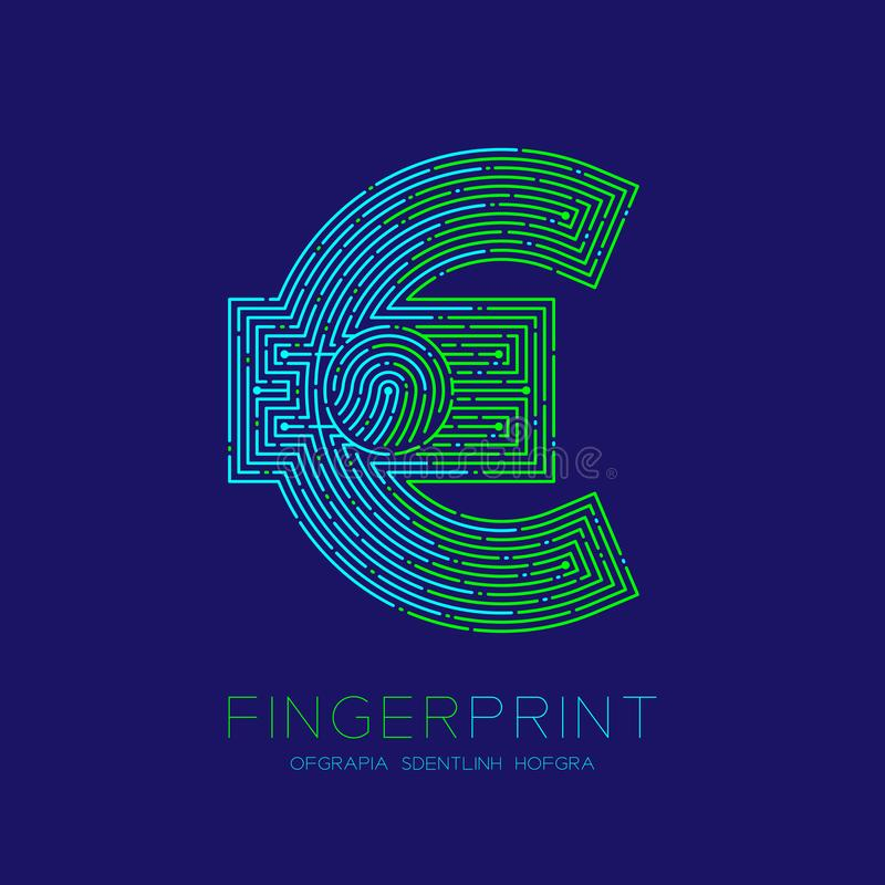 Currency EUR European Euro sign Fingerprint scan pattern logo dash line, digital cryptocurrency concept, Editable stroke. Illustration isolated on blue stock illustration