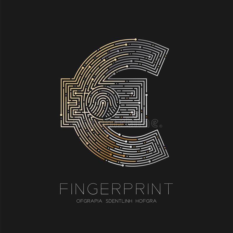 Currency EUR European Euro sign Fingerprint scan pattern logo dash line, digital cryptocurrency concept, illustration isolated. On black background with stock illustration