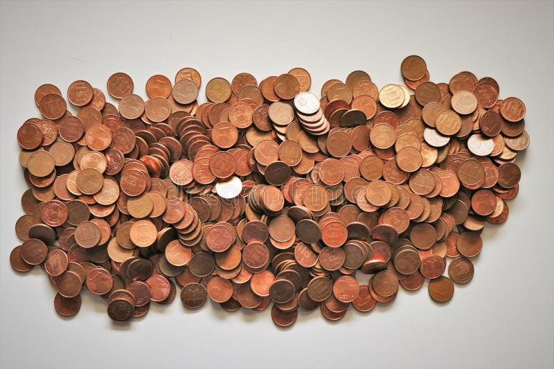 Pile of one Euro cents. royalty free stock photo