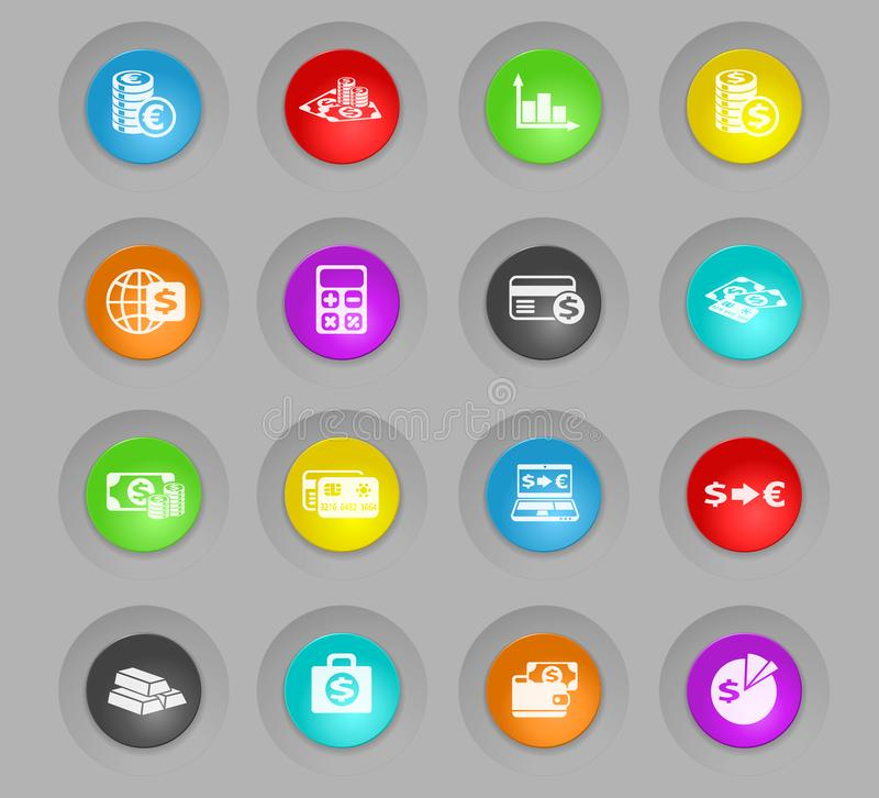 Currency exchange colored plastic round buttons icon set. Currency exchange colored plastic round buttons vector icons for web and user interface design stock illustration