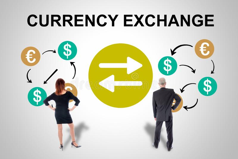 Currency exchange concept watched by business people. Currency exchange concept drawn on a wall watched by business people royalty free stock photo