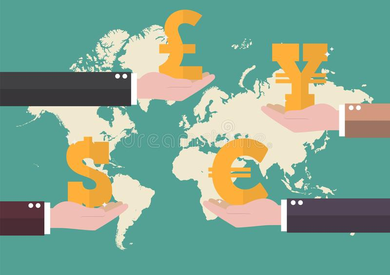 Currency exchange concept with world map background stock illustration