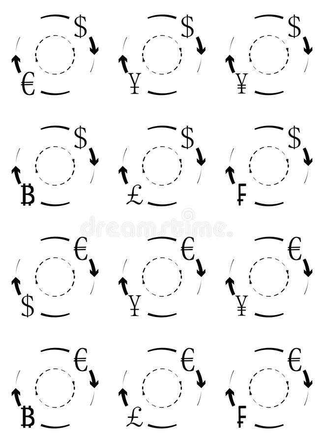 Currency exchange and conversion icons of set stock illustration