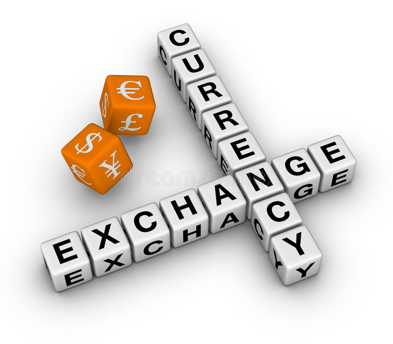 Currency Exchange Dice Stock Photo