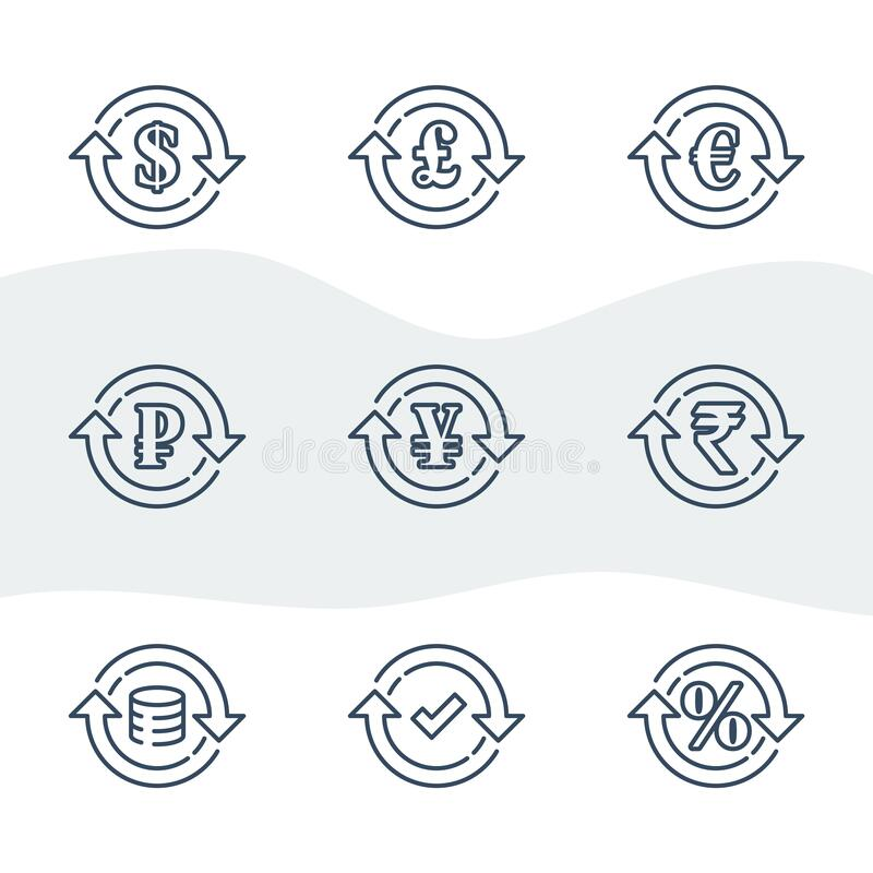 Currency exchange, financial services, pound and euro, dollar sign in circle arrow. Ruble and rupee symbol, interest rate, debt refinance, return money, vector royalty free illustration