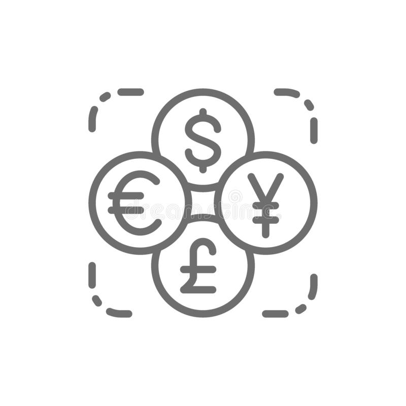 Currency exchange, foreign money, coin of dollar, euro, yen, pound line icon. royalty free illustration