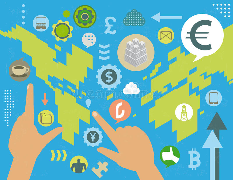 Currency exchange global concept. Virtual currency exchange market manipulation world map concept, with social media icons, infographics elements and grunge royalty free illustration