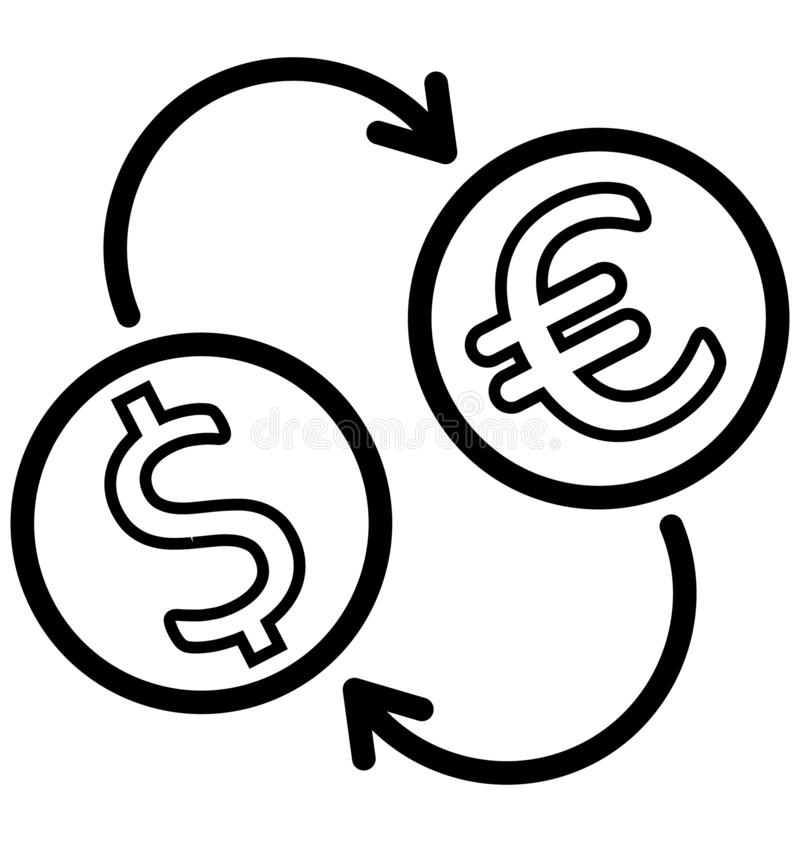 Currency Exchange Isolated Vector icon that can be easily edit or modified. stock illustration