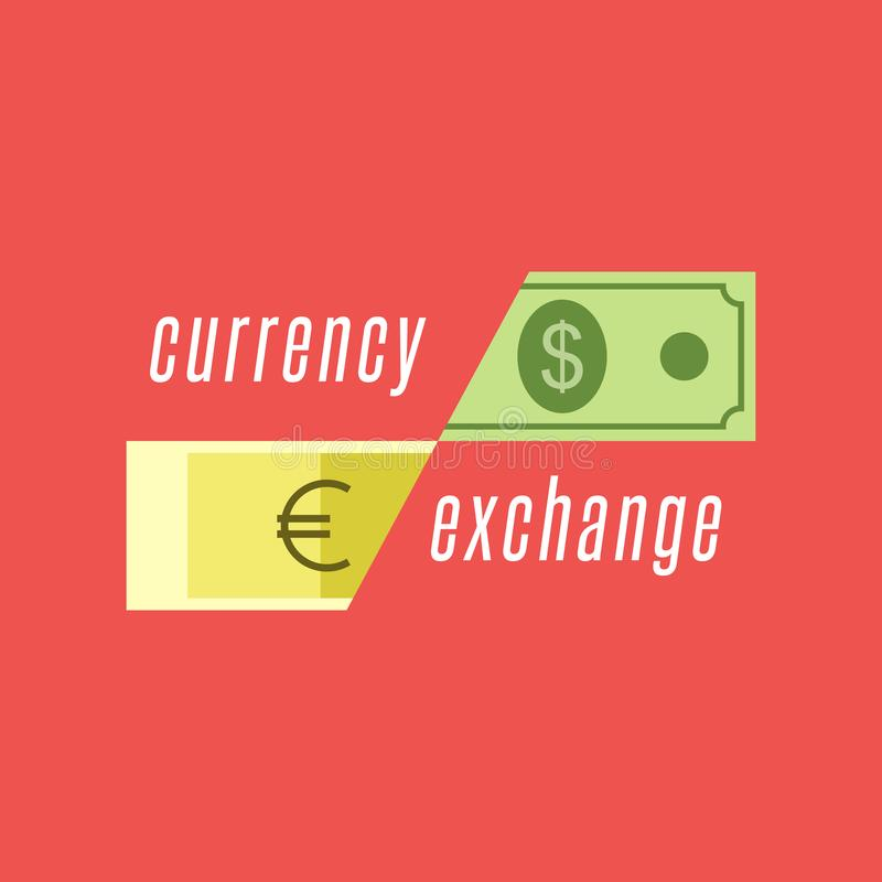 Currency exchange logo, dollar bill and euro banknote illustration in a flat style. Cash currency transactions financial services stock illustration