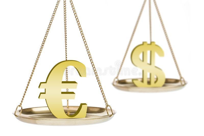 Currency exchange metaphor. Metaphor for exchange rate between Euro and dollar isolated on white background. Focus on Euro sign