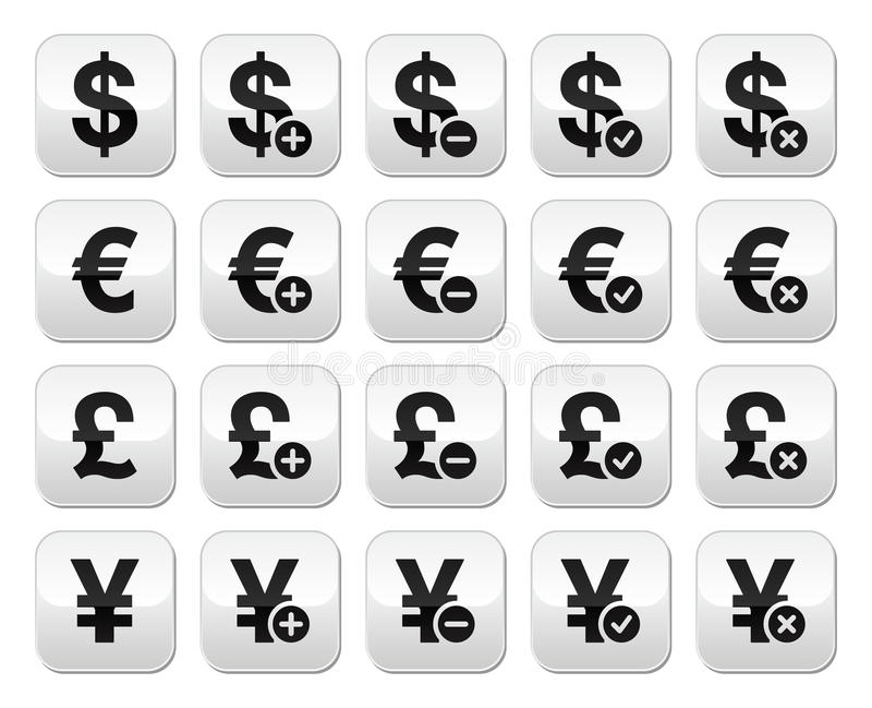 Download Currency Exchange Buttons Set - Dollar, Euro, Yen, Pound Stock Illustration - Image: 30199684