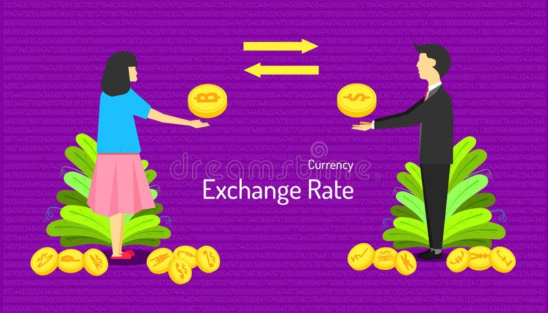 The currency exchange rate. male and female transfer money different type of coin. number background. vector illustration eps10 stock illustration