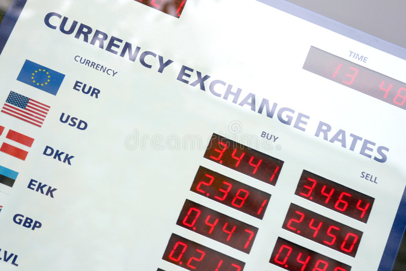 Currency exchange rates board stock photo