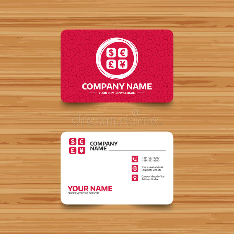 Currency exchange sign icon. Currency converter. Business card template with texture. Currency exchange sign icon. Currency converter symbol. Money label. Phone vector illustration
