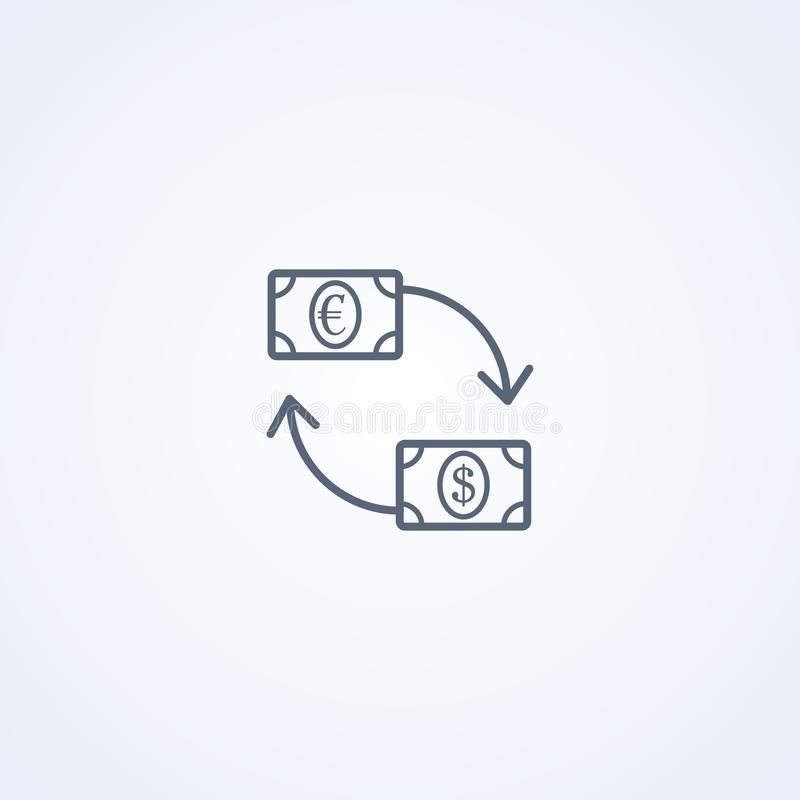 Currency exchange, vector best gray line icon stock illustration