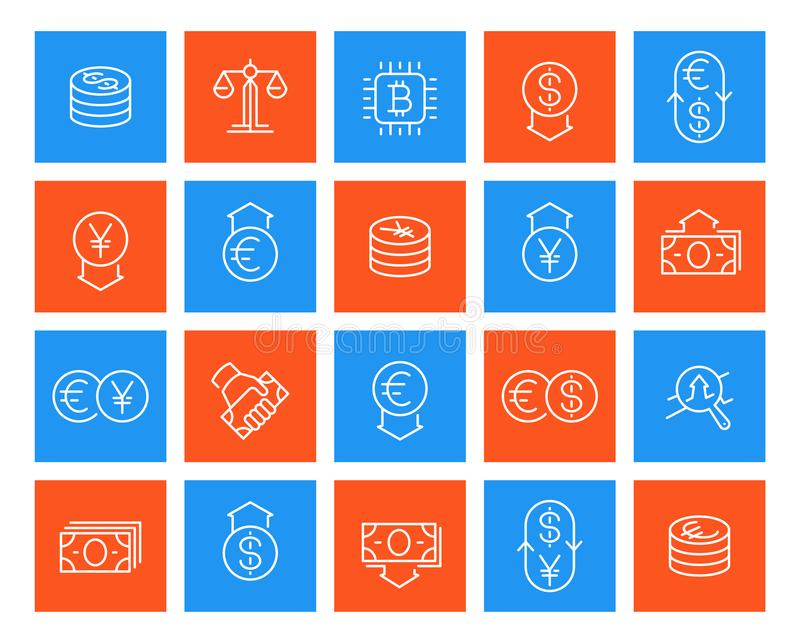 Currency, finance line icons royalty free illustration